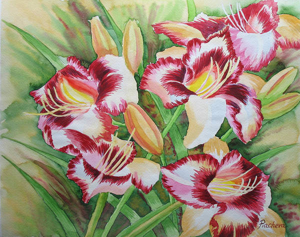 Watercolor Art Print featuring the painting Purple Lilies.2007 by Natalia Piacheva