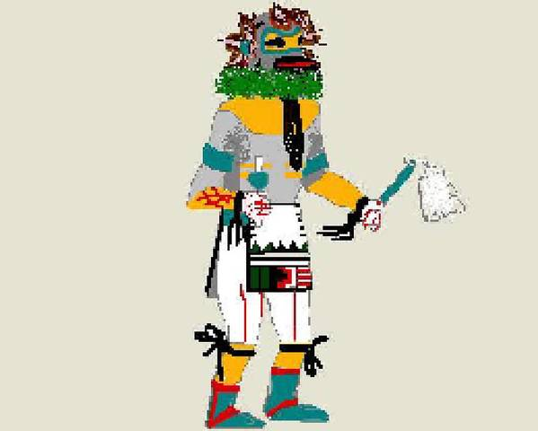 Kachina Art Print featuring the digital art Quail Dancer Kachina by Carole Boyd