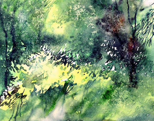 Landscape Watercolor Nature Greenery Rain Art Print featuring the painting Rain Gloss by Anil Nene