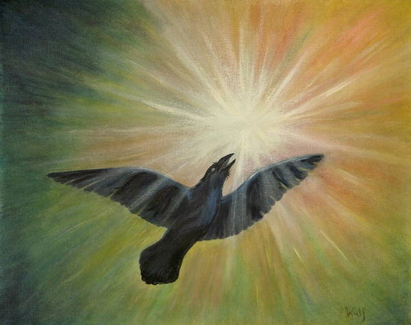 Raven Art Print featuring the painting Raven Steals The Light by Bernadette Wulf