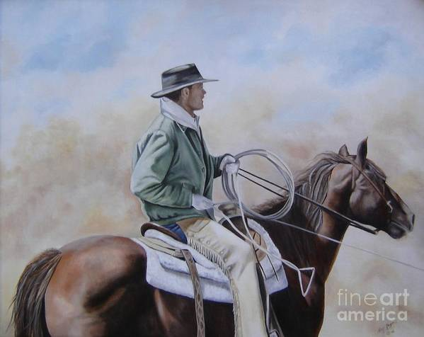 Ranch Art Print featuring the painting Ready To Rope by Mary Rogers