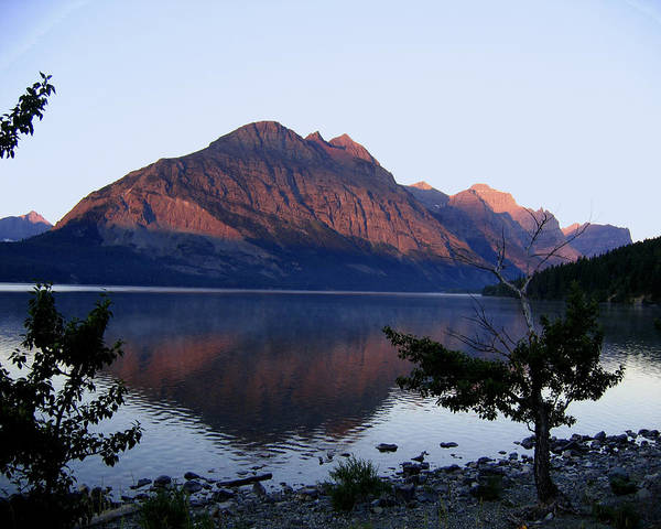 Reflections St. Mary Lake Art Print featuring the photograph Red Bluffs by Diane Wallace