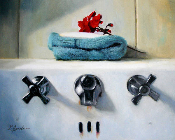 Red Geraniums Art Print featuring the painting Red Geranium And Old Sink by Linda Jacobus