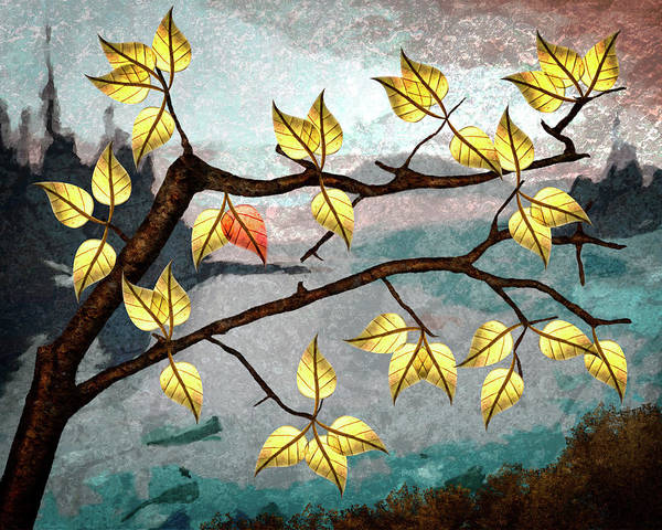 Digital Art Art Print featuring the digital art Red Leaf by Ken Taylor