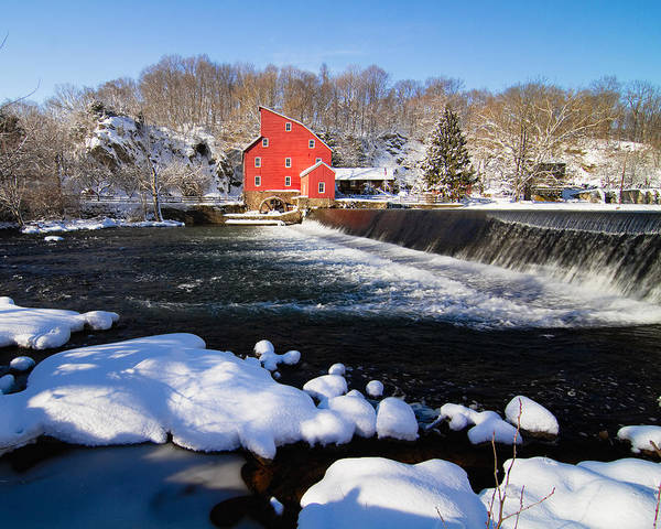 Blue Sky Art Print featuring the photograph Red Mill In Winter Landscape by George Oze