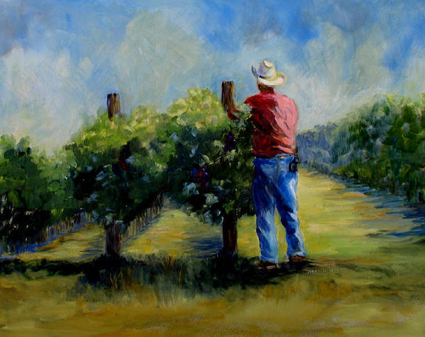 Landscape And Figure Art Print featuring the painting Red Mountian Worker by Joanne Massingale