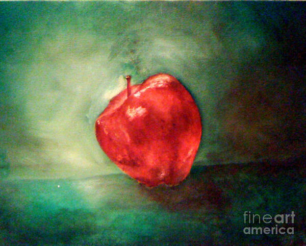 Apple Art Print featuring the painting Red Red Apple by Simonne Mina