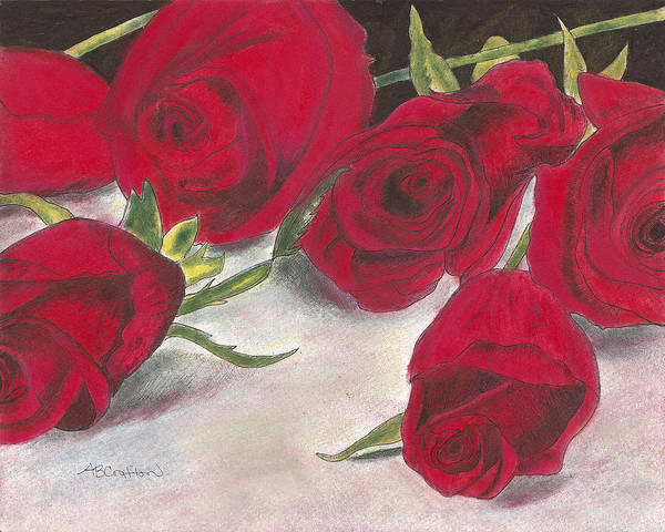 Roses Art Print featuring the drawing Red Rose Redux by Arlene Crafton