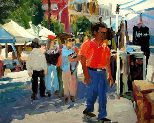 Market Paintings Art Print featuring the painting Red Shirt by Brian Simons