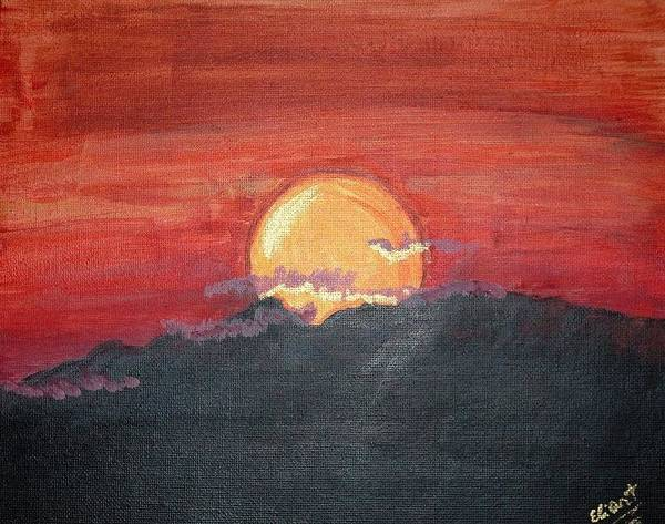 Sunset Art Print featuring the painting Red Sunset by Elizabeth Arthur