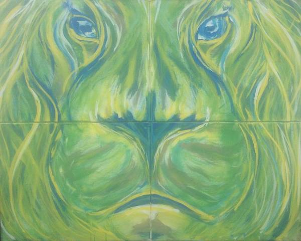Mannaah Art Print featuring the painting Reflections In The Lions Eyes by Mannaah Blackwell