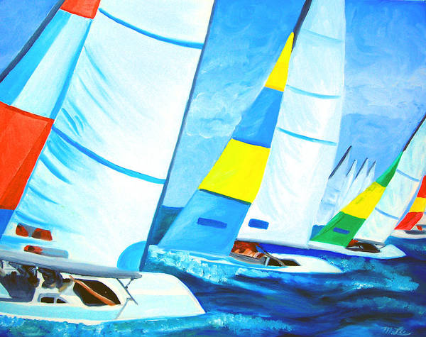 Sailing Art Print featuring the painting Regatta by Michael Lee