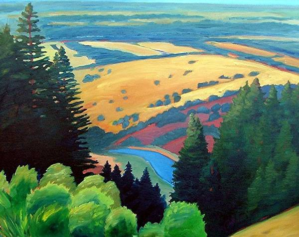 Rerservoir Art Print featuring the painting Reservoir Below by Gary Coleman