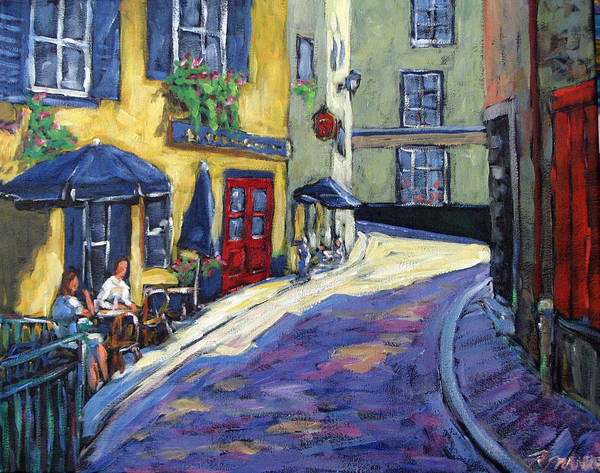Restaurant Art Print featuring the painting Resto Le Cochon Dingue In Old Quebec by Richard T Pranke
