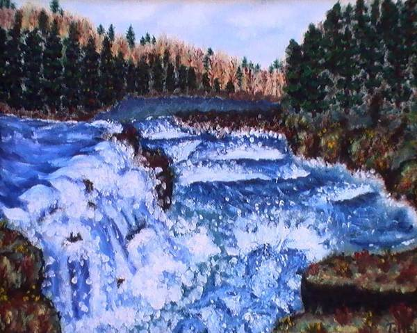 Pine Trees Art Print featuring the painting River Falls by Tanna Lee M Wells