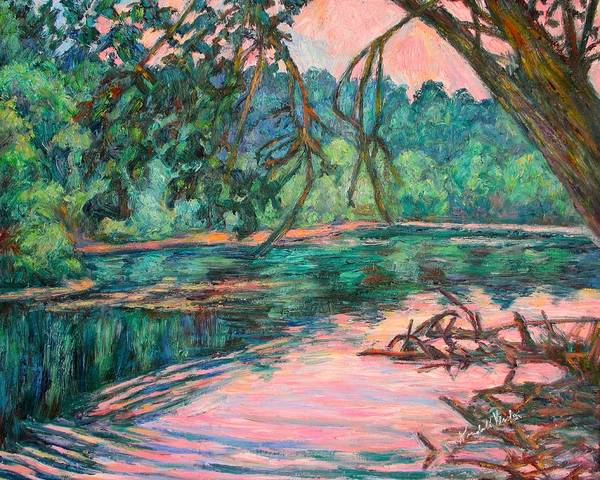 Riverview Park Art Print featuring the painting Riverview At Dusk by Kendall Kessler