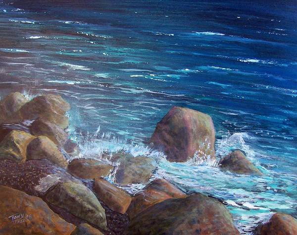 Seascape Art Print featuring the painting Rocks And Rolls by Tony Rodriguez