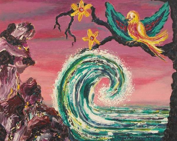 Bird Art Print featuring the painting Rocks Wave And Bird by Suzanne Marie Leclair