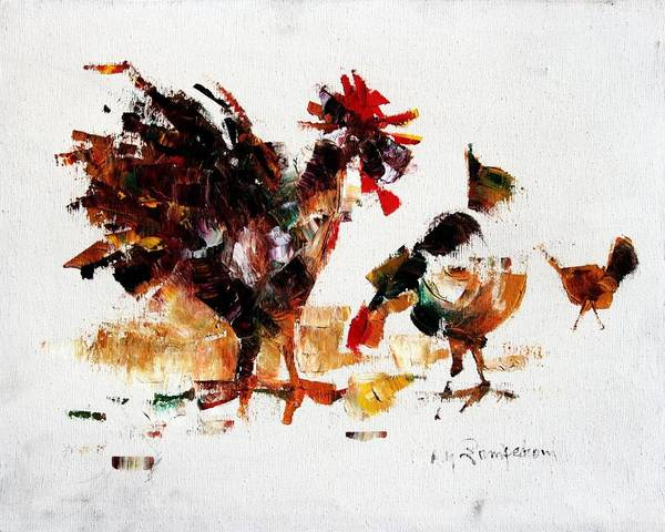 Rooster Art Print featuring the painting Rooster by Mario Zampedroni