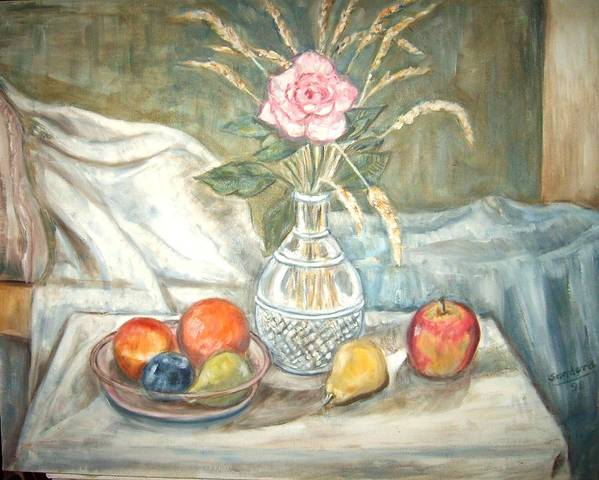 Still Life Fruit Rose Bottle Flowers Art Print featuring the painting Rose With Fruit by Joseph Sandora Jr