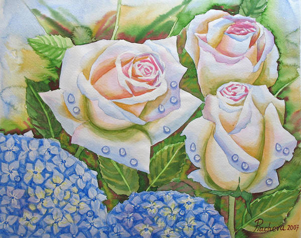 Flowers Art Print featuring the painting Roses.2007 by Natalia Piacheva
