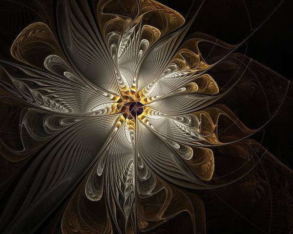 Digital Art Art Print featuring the digital art Rosette In Gold And Silver by Amanda Moore