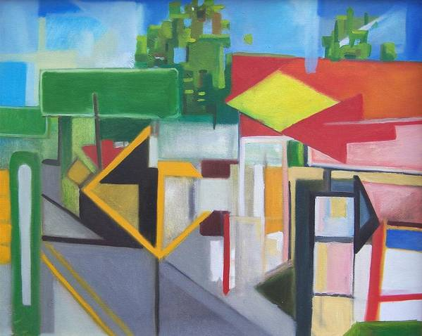 Suburban Art Print featuring the painting Route Forty Six Ft.lee Leonia by Ron Erickson