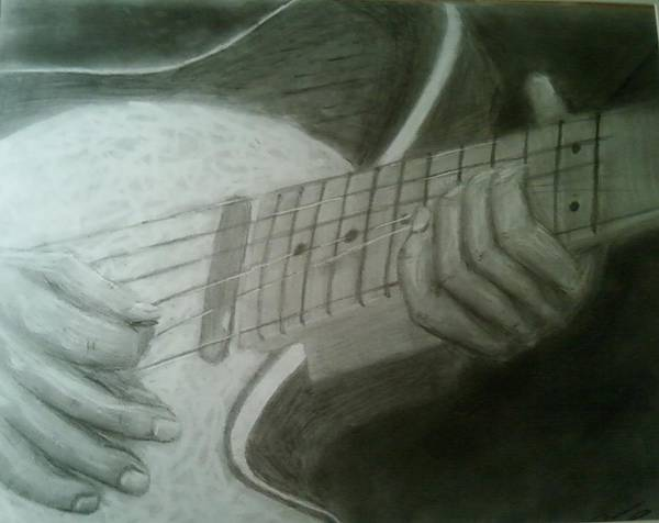Guitar Art Print featuring the drawing Ruby by Bruce Byrnes