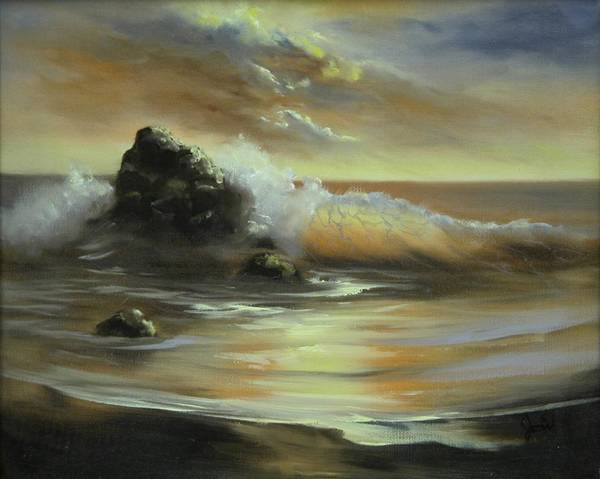 Seascape Art Print featuring the painting Sea Of Gold by Joni McPherson