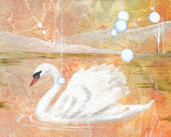 Swan Art Print featuring the painting Serena's Sanctuary by Jackie Mueller-Jones