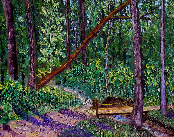 Landscape Art Print featuring the painting Sewp Trail Bridge by Stan Hamilton