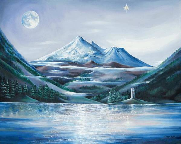 Mystical Landscape Art Print featuring the painting Shasta Water by Kathleen Boyle Magnuson