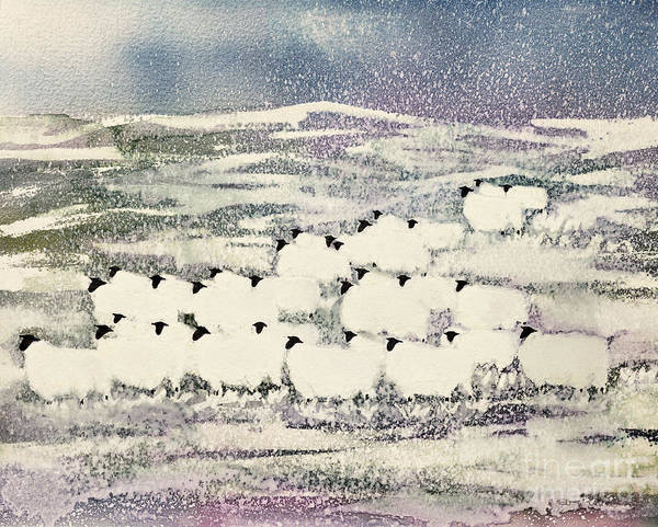 Sheep In Winter By Suzi Kennett (contemporary Artist) Art Print featuring the painting Sheep In Winter by Suzi Kennett