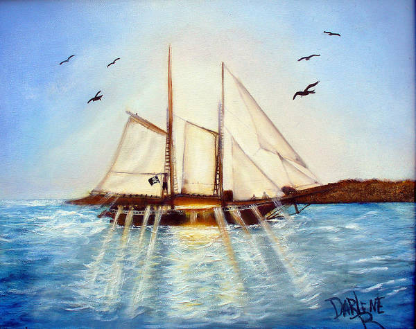 Ship Art Print featuring the painting Ship At Mallory Square by Darlene Green
