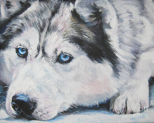 Dog Art Print featuring the painting Siberian Husky Up Close by Lee Ann Shepard