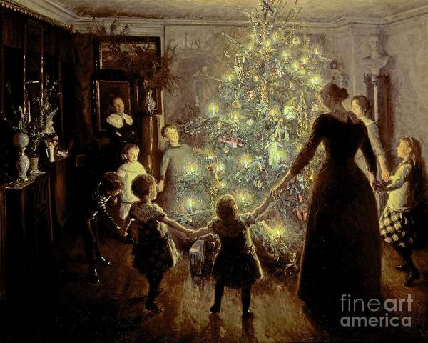 Xmas Art Print featuring the painting Silent Night by Viggo Johansen