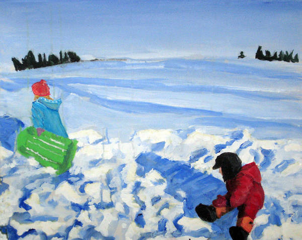 Snow Art Print featuring the painting Sledding by Alicia Kroll