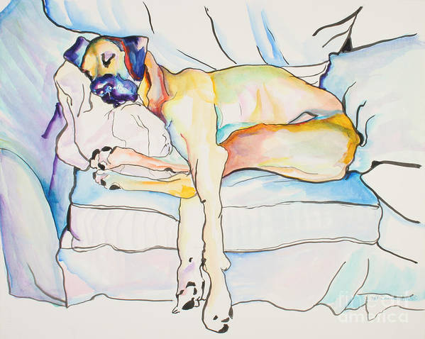 Great Dane Art Print featuring the painting Sleeping Beauty by Pat Saunders-White