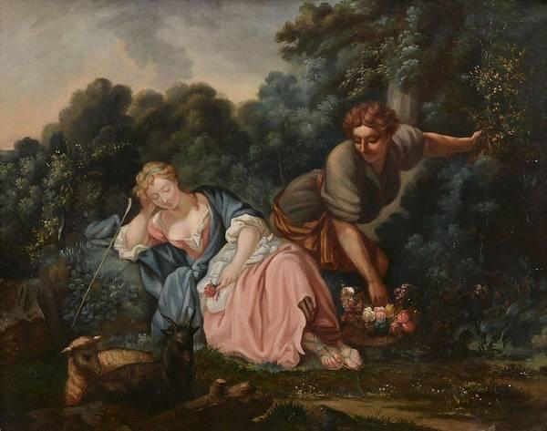 Manner Of Fran�ois Boucher (1703-1770) Sleeping Maiden In A Woodland Landscape Art Print featuring the painting Sleeping Maiden In A Woodland Landscape by Francois Boucher
