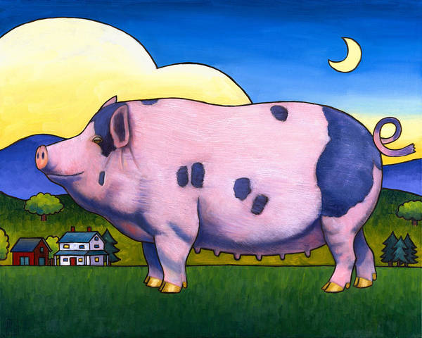 Pig Art Print featuring the painting Small Pig by Stacey Neumiller