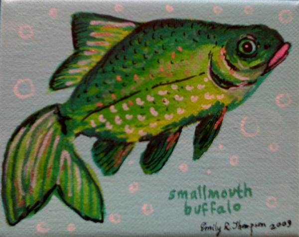 Fish Whimsical Animal Goldfish Green Art Print featuring the painting Smallmouth Buffalo by Emily Reynolds Thompson