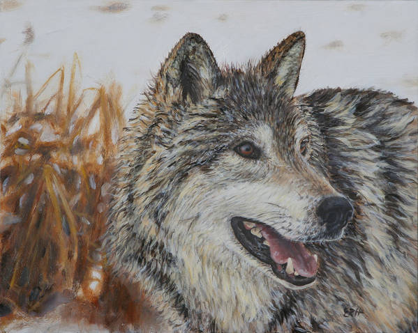 Wolf Art Print featuring the painting Smile by Elizabeth Rieke Hefley