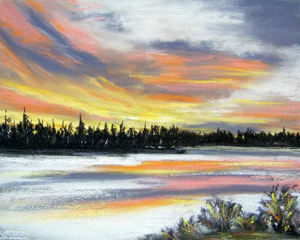 Sunset Art Print featuring the pastel Snake River Sunset by Gale Cochran-Smith