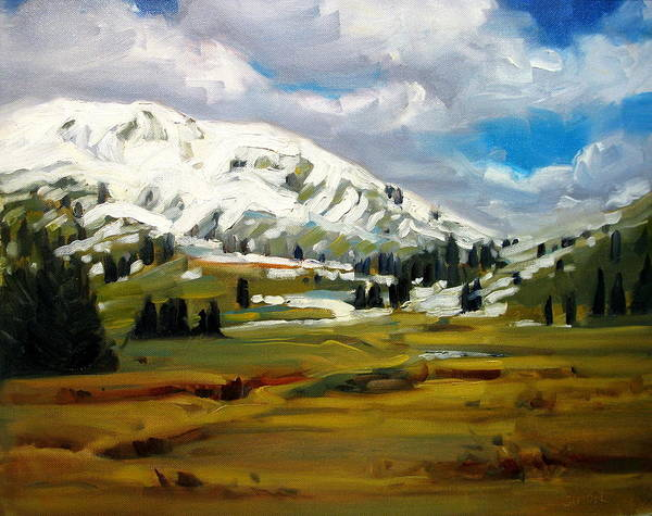 Landscape Paintings Art Print featuring the painting Snowy Peaks by Brian Simons