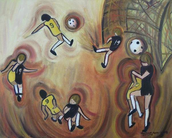 Soccer Art Print featuring the painting Soccer by Suzanne Marie Leclair
