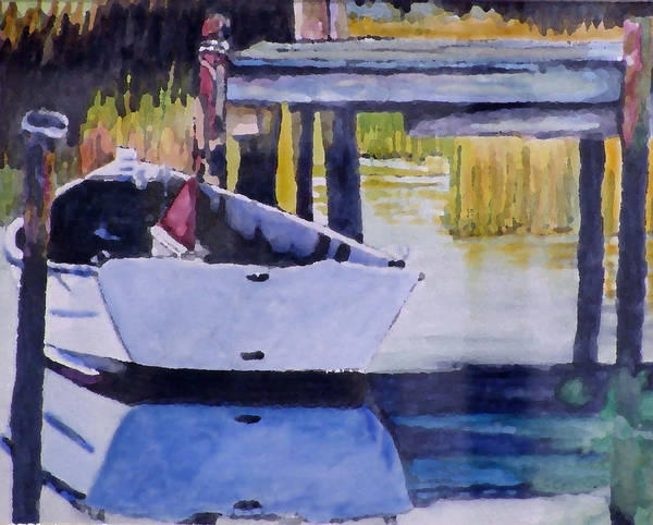 Boat Art Print featuring the painting Sound Side Dock by Jim Phillips