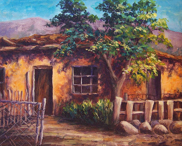 Landscape Art Print featuring the painting Southwest Adobe by Candy Mayer