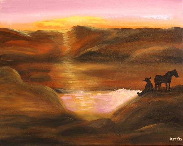 Acrylic Art Print featuring the painting Southwestern Desert Sunset by Aleta Parks