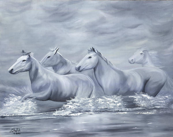 Horses Art Print featuring the painting Spirit by SheRok Williams