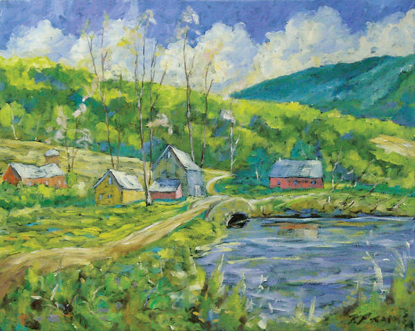 Landscape Art Print featuring the painting Spring Scene by Richard T Pranke